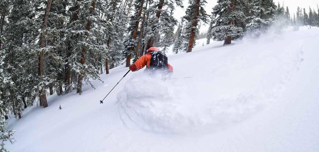 Skier hitting fresh powder