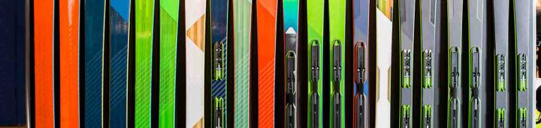 Skis lined up in a ski shop